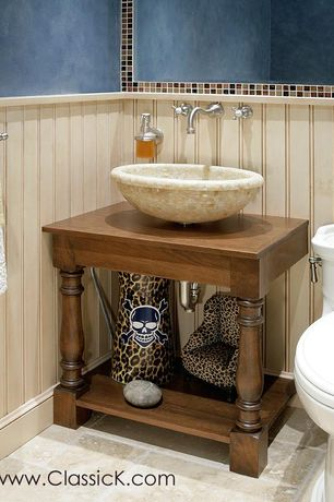 Eclectic Powder Room with Wood counters, stone tile floors, Vessel sink, Paint 1, Paintable white beadboard, Standard height