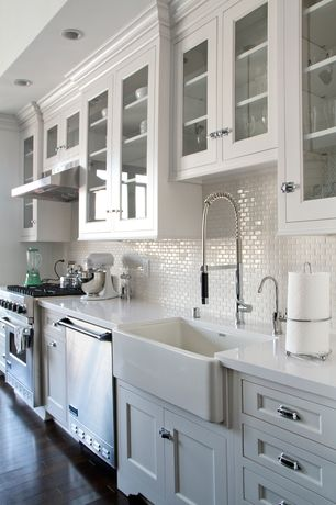 Country Kitchen with full backsplash, Standard height, Inset cabinets, gas range, dishwasher, One-wall, Subway Tile