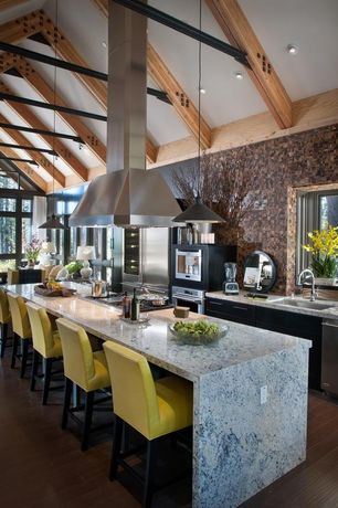 Contemporary Kitchen with One-wall, Pendant light, Flush, Waterfall countertop, Breakfast bar, flush light, Kitchen island