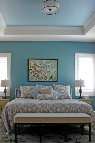 Contemporary Master Bedroom with Crown molding, Kathy Kuo Home Cruz Modern Classic Ivory Leather 60 Inch Bench, Carpet
