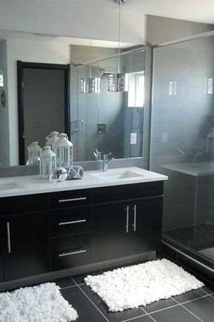 Contemporary 3/4 Bathroom with Undermount sink, Grohe 34271000 Lavatory Centerset Less Drain, Chrome, European Cabinets