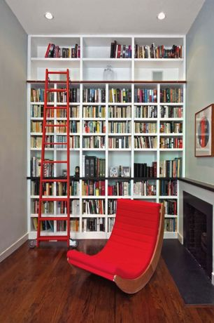 Modern Library with Hardwood floors, can lights, Standard height, Fireplace, Built-in bookshelf, other fireplace