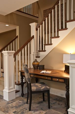 Traditional Staircase with Hardwood floors, Paint, curved staircase, High ceiling