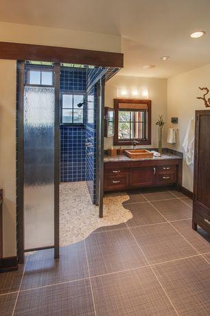 Rustic Master Bathroom with Casement, partial backsplash, Daltile Regency Blue Ceramic Field Tile, Simple Granite, Shower