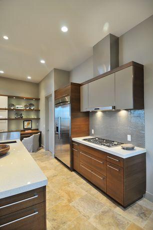 Contemporary Kitchen with Undermount sink, Kitchen island, slate tile floors, European Cabinets, Flush, Quartz counters