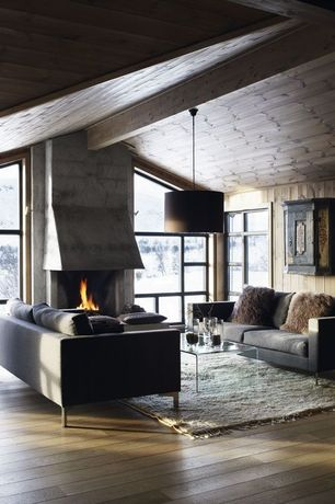 Rustic Living Room with Cement fireplace, Progress Lighting Markor Drum Pendant Shade, peekaboo clear coffee table