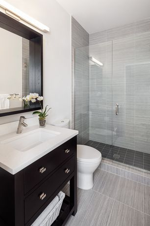 Contemporary 3/4 Bathroom with Daltile city view urban evening, European Cabinets, Flush, frameless showerdoor, High ceiling