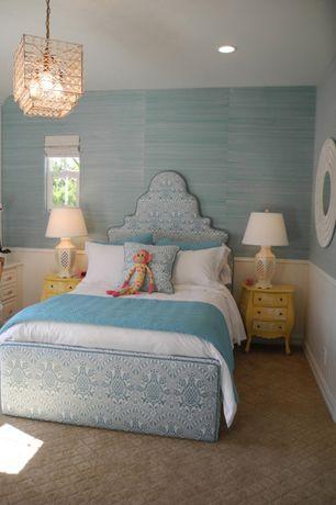 Cottage Master Bedroom with Carpet, Wisteria Blue Grasscloth, interior wallpaper, Wainscotting, Pendant light