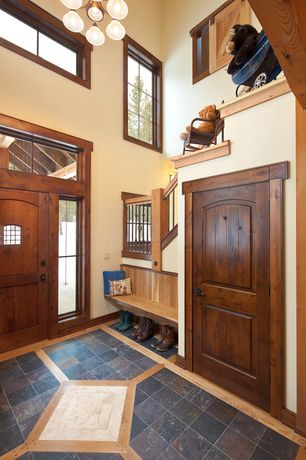 Country Entryway with Paint, picture window, Multi color 12 in. x 12 in. gauged slate floor and wall tile, Cathedral ceiling