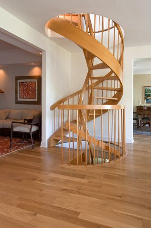 Contemporary Staircase with Hardwood floors, High ceiling, Spiral staircase, Maple spiral staircase