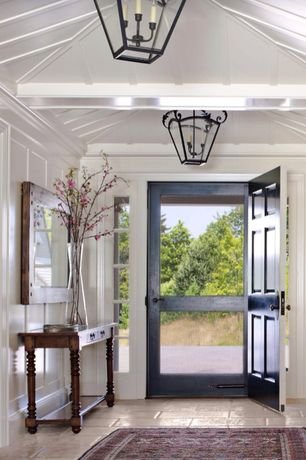 Country Entryway with 32 in. x 80 in. Century Unfinished Wood Screen Door, travertine floors, Pendant light, Crown molding