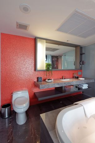 Contemporary Full Bathroom with Master bathroom, Handheld showerhead, Undermount sink, Travertine counters