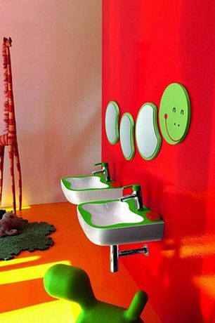 Contemporary Kids Bathroom with Laufen Florakids Small Washbasin in Green, Laufen FLORA KIDS Basin mixer  green lever