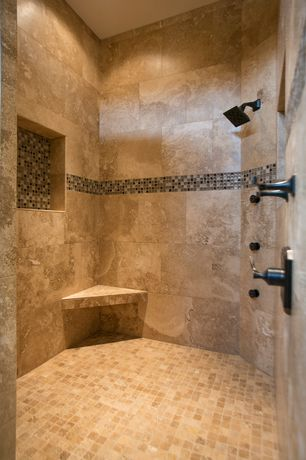 Mediterranean Master Bathroom with Ms international mixed 3 in. x 12 in. x 8 mm glass stone mesh-mounted border tile