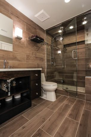 "Contemporary 3/4 Bathroom with Limestone counters, Wall sconce, Kaska porcelain tile amazon wood series rio palm 6x36"", Flush"