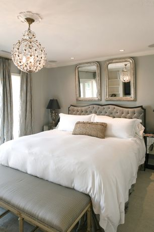Traditional Master Bedroom with Layla Grace Maura Daniel Chloe Matte White Chandelier, Crown molding, Carpet, French doors