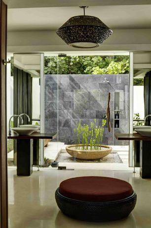 Contemporary Master Bathroom with flush light, Wood counters, Rain shower, frameless showerdoor, Master bathroom, Vessel sink