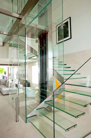 Contemporary Staircase with picture window, Standard height, Floating staircase, Carpet, Exposed beam