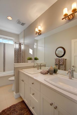 Traditional Full Bathroom with Shower, can lights, drop in bathtub, curtain showerdoor, Casement, Full Bath, Standard height