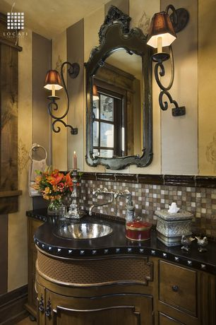 Traditional Powder Room with Hardwood floors, Inset cabinets, Powder room, Herbeau Creations Rhone Round Bowl, Wall sconce