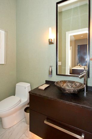 Modern Powder Room with European Cabinets, Complex granite counters, George Kovacs Saber 1 Light Bath Vanity Light, Flush