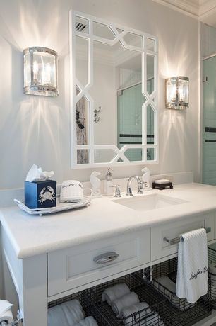 Traditional 3/4 Bathroom with Dupont dorian arctic ice solid surface countertop, Crown molding, framed showerdoor, Shower