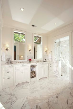 Traditional Master Bathroom with Arizona tile, CALACATTA GOLD VEIN, Marble