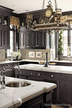 Craftsman Kitchen with limestone tile floors, Undermount sink, Ultracraft destiny: raised panel, Inset cabinets, Ceramic Tile