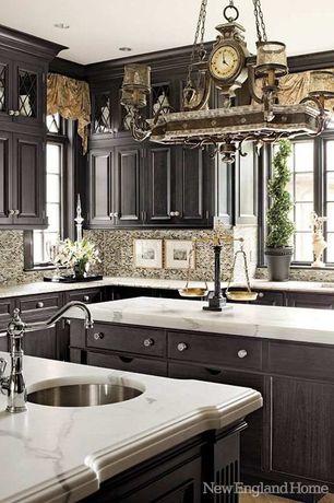 Craftsman Kitchen with full backsplash, limestone tile floors, U-shaped, Raised panel, Ceramic Tile, Complex marble counters