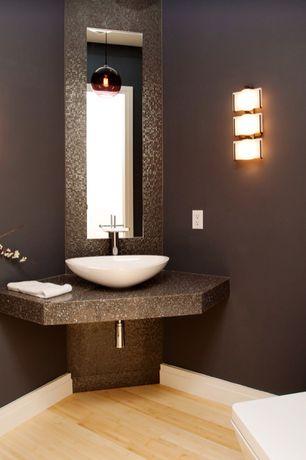 Modern Powder Room with Simple granite counters, Paint 1, full backsplash, Powder room, Pendant light, Hardwood floors