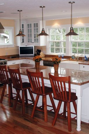 Cottage Kitchen with Granite countertop, Waterworks Clayburn Fireclay Apron Farmhouse Sink with Rear Drain