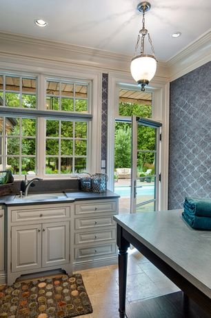 Traditional Mud Room with Crown molding, Transom window, French doors, can lights, Pendant light, stone tile floors