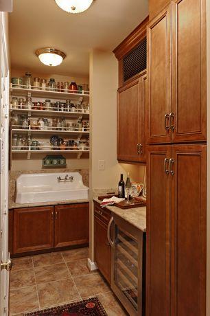 Traditional Pantry with specialty door, porcelain tile floors, Paint 1, Daltile terra di siena pz04 14x14 field tile