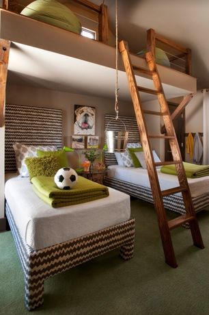 Contemporary Kids Bedroom with Carpet, Upholstered bed frame, Ladder, Loft, Fabric curtains, Vaulted ceiling, High ceiling