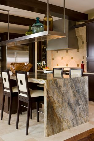Contemporary Kitchen with Breakfast bar, 12 in. x 12 in. honed limestone floor and wall tile, limestone tile floors, Flush