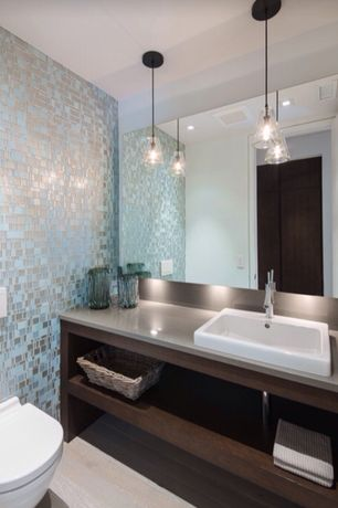 Contemporary Powder Room with EliteTile Sierra Random Sized Glass Polished and Textured Mosaic in Vesuvius Versailles