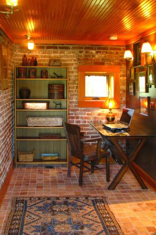 Craftsman Home Office with Wall sconce, Casement, flush light, interior brick, Standard height, Brick floors, Crown molding