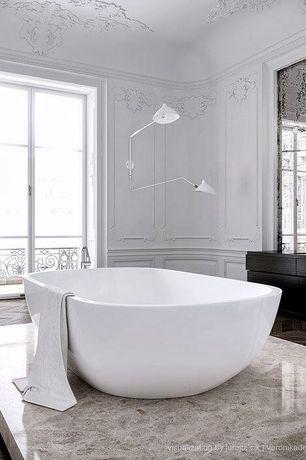 Contemporary Master Bathroom with Flush, Master bathroom, Bathtub, herringbone tile floors, European Cabinets, French doors