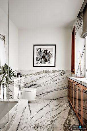 Contemporary Full Bathroom with Complex marble counters, Glass panel, Standard height, MS International Statueritto Marble