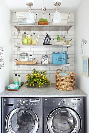 Cottage Laundry Room with Subway Tile, Quartz counters, Ceiling light, Wash Flod Dry Repeat Laundry Decal Sticker