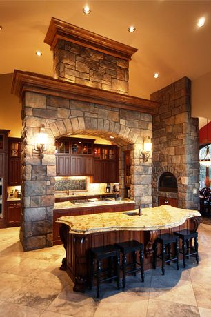 Traditional Kitchen with Flat panel cabinets, Powell: pennfield bar stool, High ceiling, limestone tile floors, One-wall