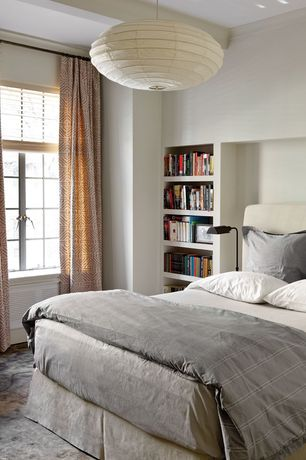 Contemporary Master Bedroom with High ceiling, Pendant light, Built-in bookshelf, Carpet