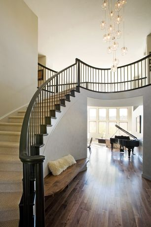 Contemporary Staircase with High ceiling, Hardwood floors, Dcor design jellyfish 4 light mini chandelier