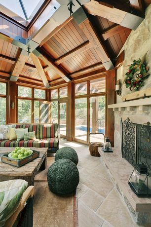 Rustic Porch with Transom window, Skylight, exterior stone floors, French doors, Screened porch