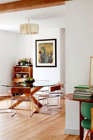 Dining Room with Branch 1 pendant lamp by jefdesigns, Viyet - vintage leather & chrome chairs (set of 6), Hardwood floors