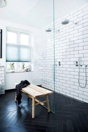 Contemporary Master Bathroom with White subway tile, flush light, herringbone tile floors, Ikea Nornas Bench, Rain shower