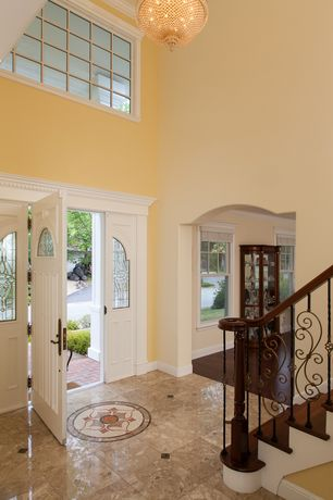 Traditional Entryway with Marble inlay flooring, Glass panel door, Hunter Douglas Parkland Genuine Woods Blinds