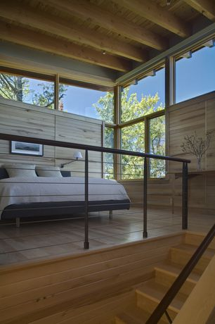 Modern Master Bedroom with Standard height, flush light, picture window, Elise bed collection, Casement, Hardwood floors