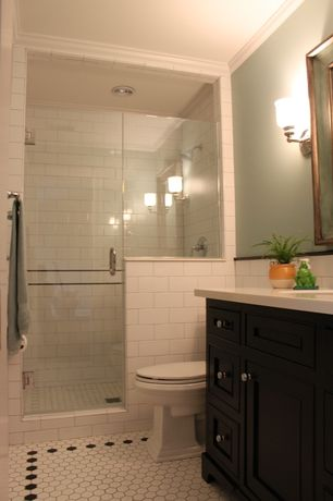 Traditional 3/4 Bathroom with Wall sconce, Inset cabinets, Daltile - rittenhouse square matte arctic white ceramic wall tile