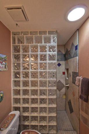 Mediterranean 3/4 Bathroom with Shower, Standard height, can lights, three quarter bath